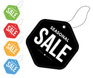Seasonal sale tags color set. Seasonal sale tags set 5 colors Stock Photos
