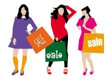 Seasonal Sales. Girls with Shopping Bag Royalty Free Stock Photo