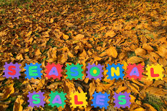 Seasonal sales-autumn leaves Stock Photos