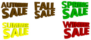 Seasonal Sales Signs. A range of seasonal sales signs for winter, spring, summer, fall and autumn isolated against a white background Stock Photo
