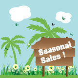 Seasonal sales wooden plate Royalty Free Stock Images