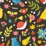 Seasonal seamless pattern with blooming meadow flowers, birds, snail, butterflies and ladybugs on dark background royalty free illustration