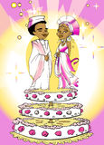 Wedding Just Married, African Couple, Cartoon Royalty Free Stock Photos