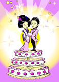 Wedding Just Married, Japanese Couple, Cartoon Royalty Free Stock Photo
