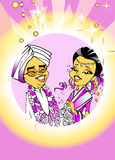Wedding Just Married, Indian Couple, Cartoon Royalty Free Stock Images