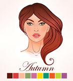 Seasonal skin color types for women Autumn. Royalty Free Stock Photography