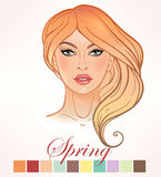 Seasonal skin color types for women Spring. Seasonal color types for women skin beauty set element Spring. Beautiful girls face portrait, make up shades Royalty Free Stock Image