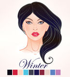 Seasonal skin color types for women Winter. Seasonal color types for women skin beauty set element Winter. Beautiful girls face portrait, make up shades Stock Image
