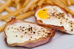 Eggs with ham as Christmas snack Stock Photo