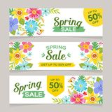 Seasonal Spring sale banner collection. Spring sale horizontal banner templates with colorful flowers background. Perfect for vouchers, flyers, invitations Stock Photography