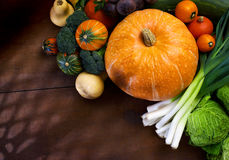Seasonal still life. Assorted of fresh vegetables on wood table stock images