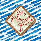 Seasonal Summer Card with rope frame on paint stripe blue and wh Royalty Free Stock Images