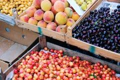 Seasonal summer fruit for sale in Armenian farmer's market Royalty Free Stock Photo