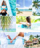 Seasonal summer pictures: resorts, sea and people Royalty Free Stock Images