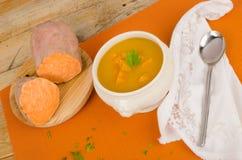 Seasonal sweet potato soup Stock Photos