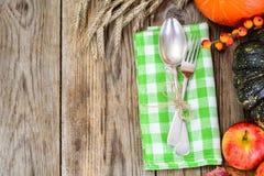 Seasonal tableware autumn pumpkins, apples, berries, cones with Stock Photos