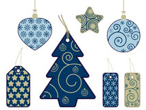 Seasonal tags in blue and gold Royalty Free Stock Images