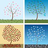 Seasonal trees. For spring, summer, autumn, and winter Stock Image