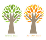 Seasonal trees. Trees season concept. Spring and autumn colors of leaves. Vector illustration Royalty Free Stock Image