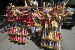 SEASONAL TRUMPET  TOY TRADERS IN NEW YEAR 2014 Royalty Free Stock Photography