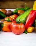 Seasonal vegetables  on garden table Royalty Free Stock Images