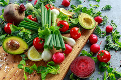 Seasonal Vegetables Ingredient For Salad, Red Radish, Tomatoes, Spring Onions, Beetroot, Lemons And Avocado On Oak Stock Photo