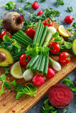Seasonal vegetables ingredient for salad, red radish, tomatoes, spring onions, beetroot, lemons and avocado on oak Royalty Free Stock Image