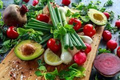 Seasonal vegetables ingredient for salad, red radish, tomatoes, spring onions, beetroot, lemons and avocado on oak Stock Images