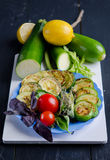 Seasonal vegetables on rustic wooden table Stock Images