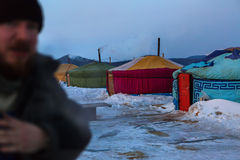 Seasonal village of yurts for fishermen on the ice in the Lake Baikal. Stock Image