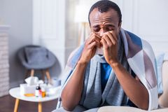 Unhappy adult man being ill. Seasonal virus. Unhappy nice adult man wearing scarf and sneezing while having seasonal virus infection Royalty Free Stock Photography