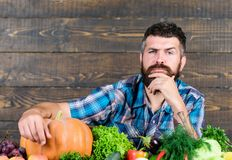 Seasonal vitamin food. Useful fruit and vegetable. organic and natural food. happy halloween. man with rich autumn crop stock photo
