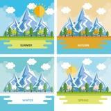 Seasonal weather set landscapes Royalty Free Stock Image