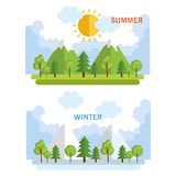 Seasonal weather set landscapes Stock Photo