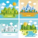 Seasonal weather set landscapes Stock Image