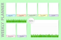 Seasonal weekly planner with spring fresh grass design. Seasonal weekly planner on the light green background with spring fresh grass design. Chart for notes and royalty free illustration
