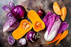 Seasonal winter autumn fall vegetables on rustic background. Plant based vegan or vegetarian cooking concept. Clean eating food. Alkaline diet stock photography