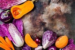 Seasonal winter autumn fall vegetables on rustic background. Plant based vegan or vegetarian cooking concept. Clean eating food. Alkaline diet royalty free stock images
