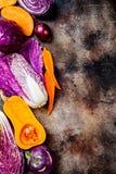 Seasonal winter autumn fall vegetables on rustic background. Plant based vegan or vegetarian cooking concept. Clean eating food. Alkaline diet stock photos