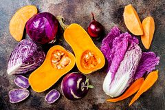 Seasonal winter autumn fall vegetables on rustic background. Plant based vegan or vegetarian cooking concept. Clean eating food. Alkaline diet royalty free stock image