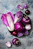 Seasonal winter autumn purple vegetables over gray stone table. Plant based vegan or vegetarian cooking concept. Clean eating food. Seasonal winter autumn purple stock images