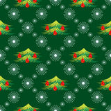 Seasonal winter green background with symmetrical snowflakes and fir-trees. Seamless vector pattern. Seasonal winter green background with symmetrical snowflakes Royalty Free Stock Photo