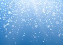 Seasonal Winter Holiday Background. Festiveal Snowfall on Blue Sky. White Snowflakes Fall. Frost Snow and Sunshine. Vector. Illustration royalty free illustration