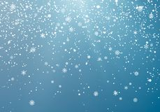 Seasonal Winter Holiday Snowfall. Festiveal Snowfall on Blue Sky. White Snowflakes Fall. Frost Snow and Sunshine. Vector. Illustration Isolated on Blue vector illustration