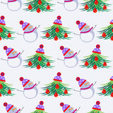 Seasonal winter light background with white snowmen and fir-trees, decorated with Christmas toys and hat. Royalty Free Stock Images