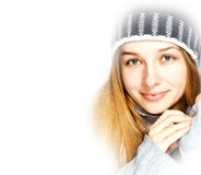 Seasonal winter portrait of beautiful young woman Stock Image