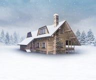 Seasonal wooden cabin at winter snowfall Royalty Free Stock Photography