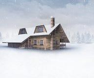 Seasonal wooden chalet at winter snowfall Royalty Free Stock Photo