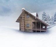 Seasonal wooden hut at winter snowfall Royalty Free Stock Image