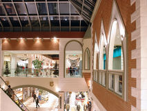 Seasonally decorated shopping mall Royalty Free Stock Photos